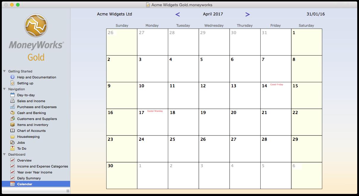 easy to use calendar