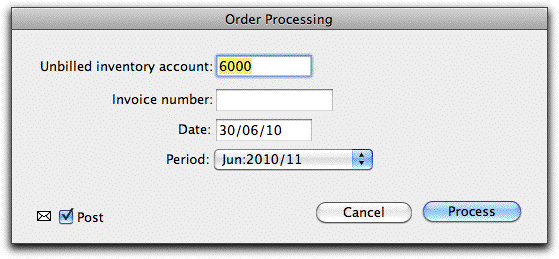 enter the unbilled inventory account invoice number date and period and click process